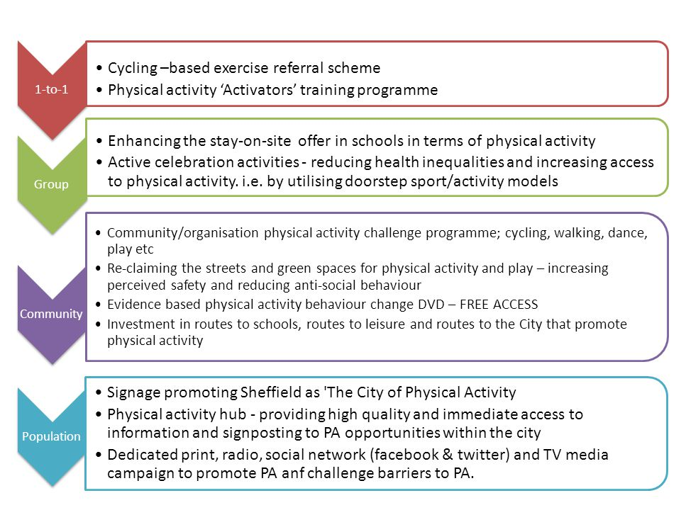 1-to-1 Cycling –based exercise referral scheme Physical activity 'Activators' training programme Group Enhancing the stay-on-site offer in schools in