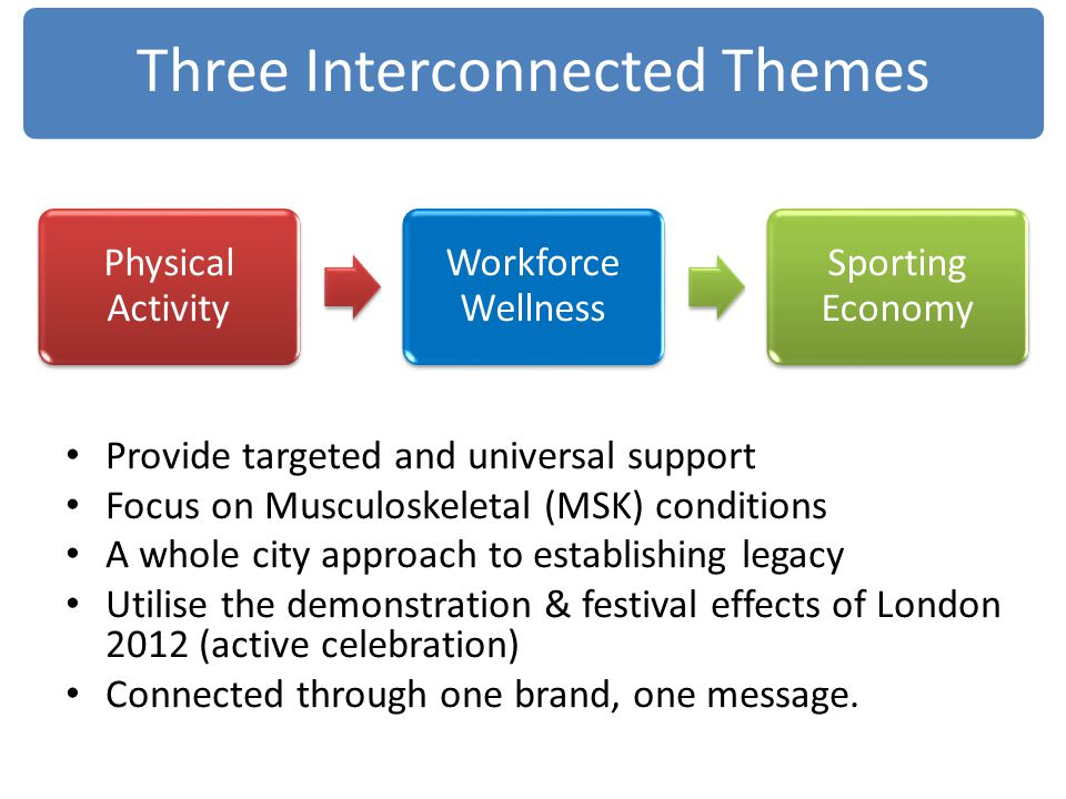 Provide targeted and universal support Focus on Musculoskeletal (MSK) conditions A whole city approach to establishing legacy Utilise the demonstratio