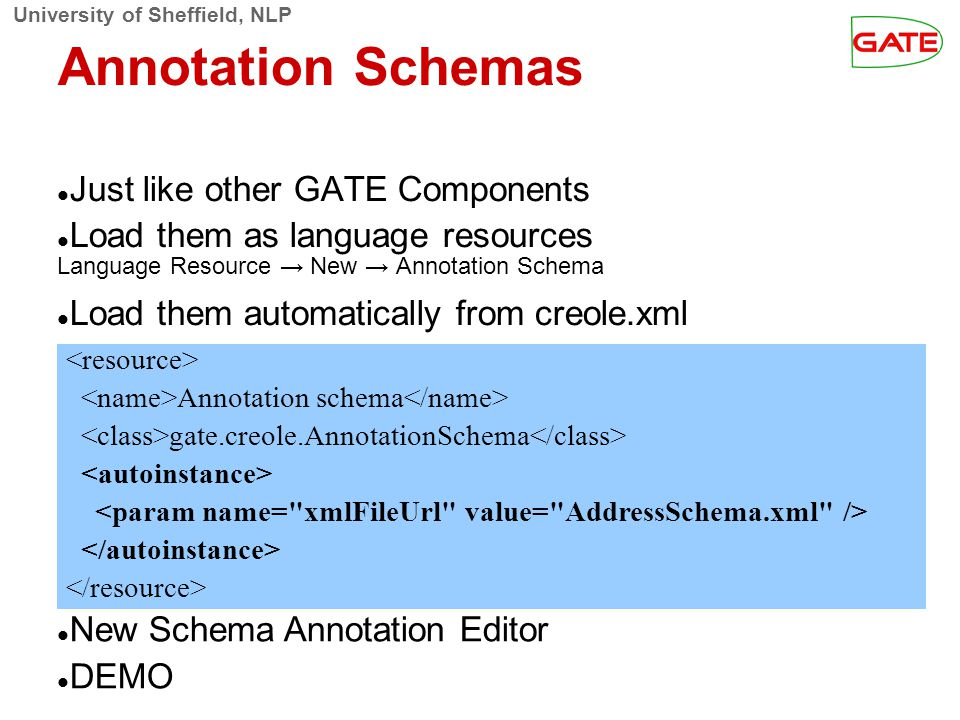 University of Sheffield, NLP Annotation Schemas Just like other GATE Components Load them as language resources Language Resource → New → Annotation S
