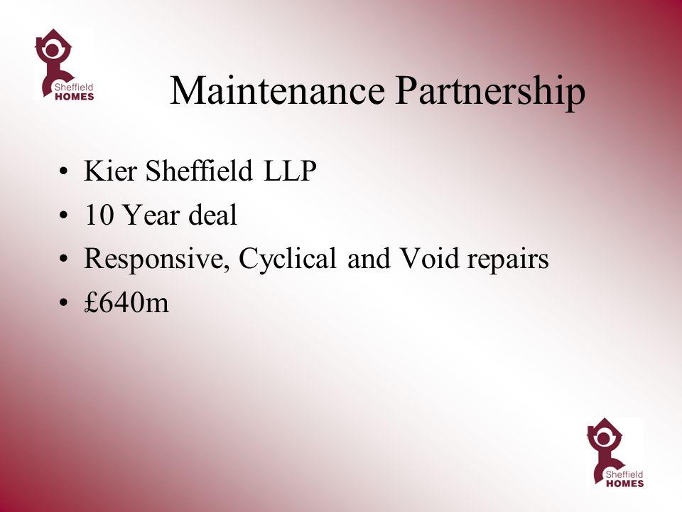 Maintenance Partnership Kier Sheffield LLP 10 Year deal Responsive, Cyclical and Void repairs £640m