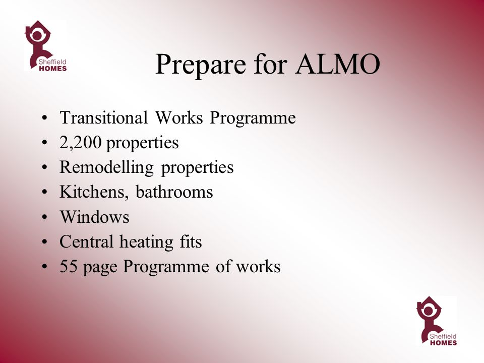 Prepare for ALMO Transitional Works Programme 2,200 properties Remodelling properties Kitchens, bathrooms Windows Central heating fits 55 page Programme of works