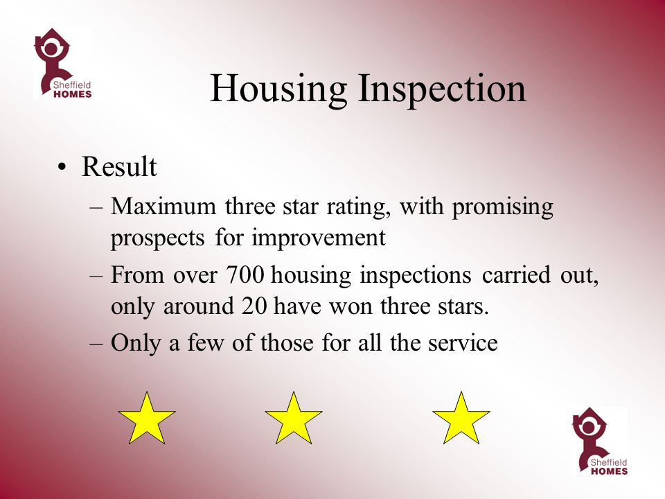 Housing Inspection Result –Maximum three star rating, with promising prospects for improvement –From over 700 housing inspections carried out, only around 20 have won three stars.