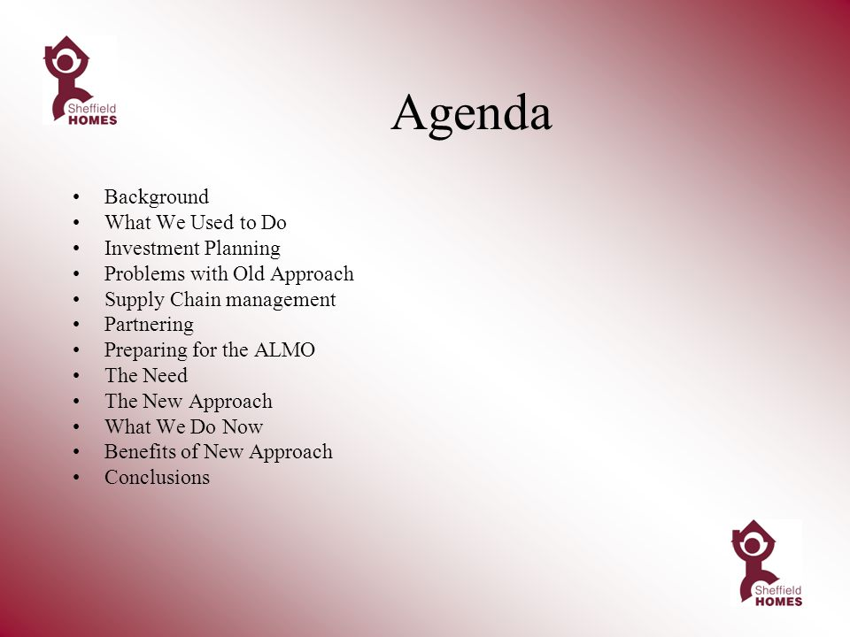 Agenda Background What We Used to Do Investment Planning Problems with Old Approach Supply Chain management Partnering Preparing for the ALMO The Need The New Approach What We Do Now Benefits of New Approach Conclusions