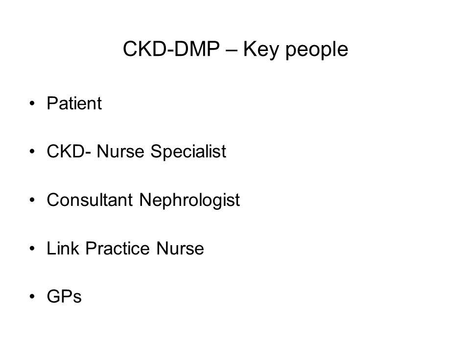 CKD-DMP – Key people Patient CKD- Nurse Specialist Consultant Nephrologist Link Practice Nurse GPs