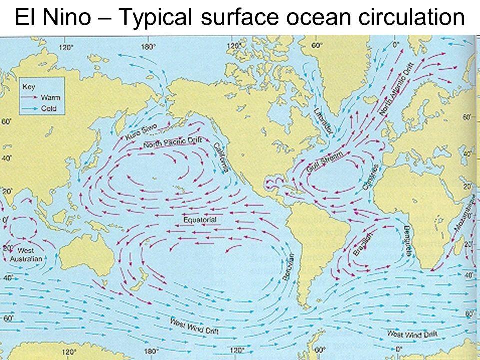 El nino conditions Normal El nino – strong counter-current