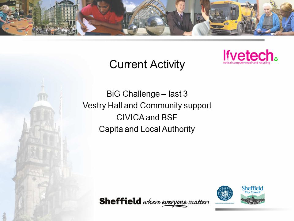 Current Activity BiG Challenge – last 3 Vestry Hall and Community support CIVICA and BSF Capita and Local Authority