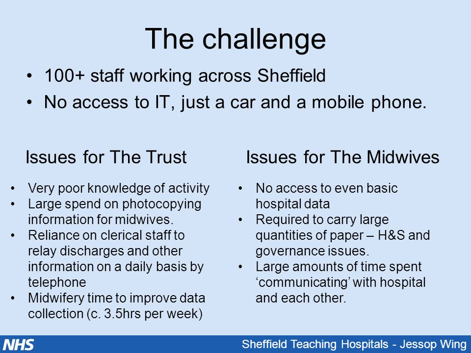 Sheffield Teaching Hospitals - Jessop Wing The challenge 100+ staff working across Sheffield No access to IT, just a car and a mobile phone. Issues fo