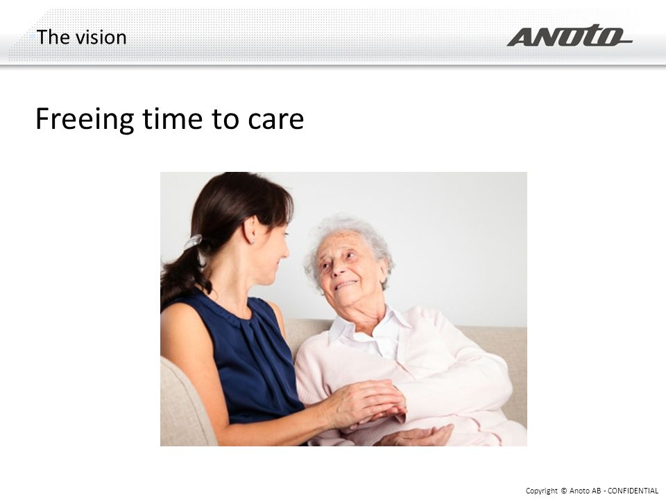 The vision Copyright © Anoto AB - CONFIDENTIAL Freeing time to care