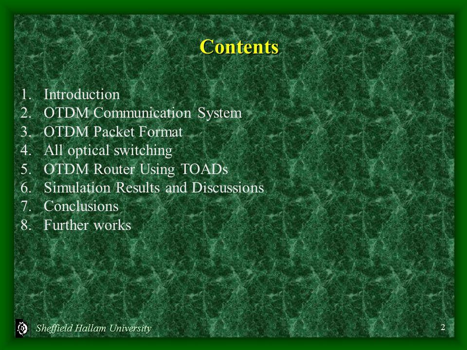 Sheffield Hallam University Contents 1.Introduction 2.OTDM Communication System 3.OTDM Packet Format 4.All optical switching 5.OTDM Router Using TOADs