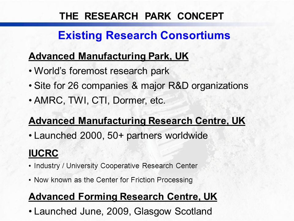 THE RESEARCH PARK CONCEPT Existing Research Consortiums Advanced Manufacturing Park, UK World's foremost research park Site for 26 companies & major R&D organizations AMRC, TWI, CTI, Dormer, etc.