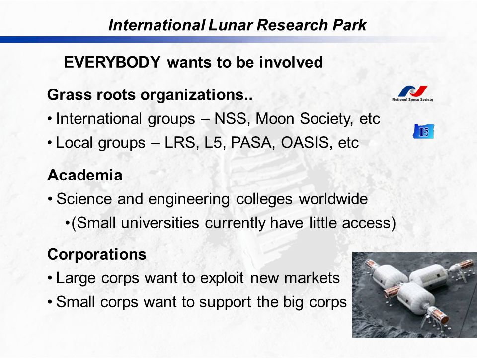 International Lunar Research Park EVERYBODY wants to be involved Grass roots organizations..