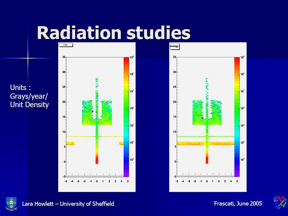 Lara Howlett – University of Sheffield Frascati, June 2005 Radiation studies Units : Grays/year/ Unit Density