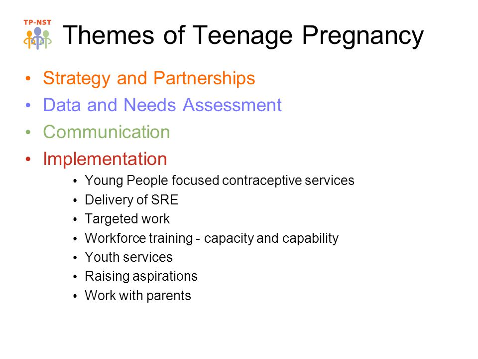 Themes of Teenage Pregnancy Strategy and Partnerships Data and Needs Assessment Communication Implementation Young People focused contraceptive services Delivery of SRE Targeted work Workforce training - capacity and capability Youth services Raising aspirations Work with parents