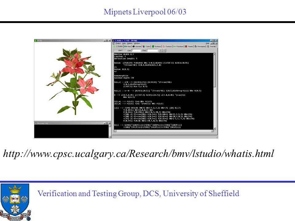 http://www.cpsc.ucalgary.ca/Research/bmv/lstudio/whatis.html Mipnets Liverpool 06/03 Verification and Testing Group, DCS, University of Sheffield