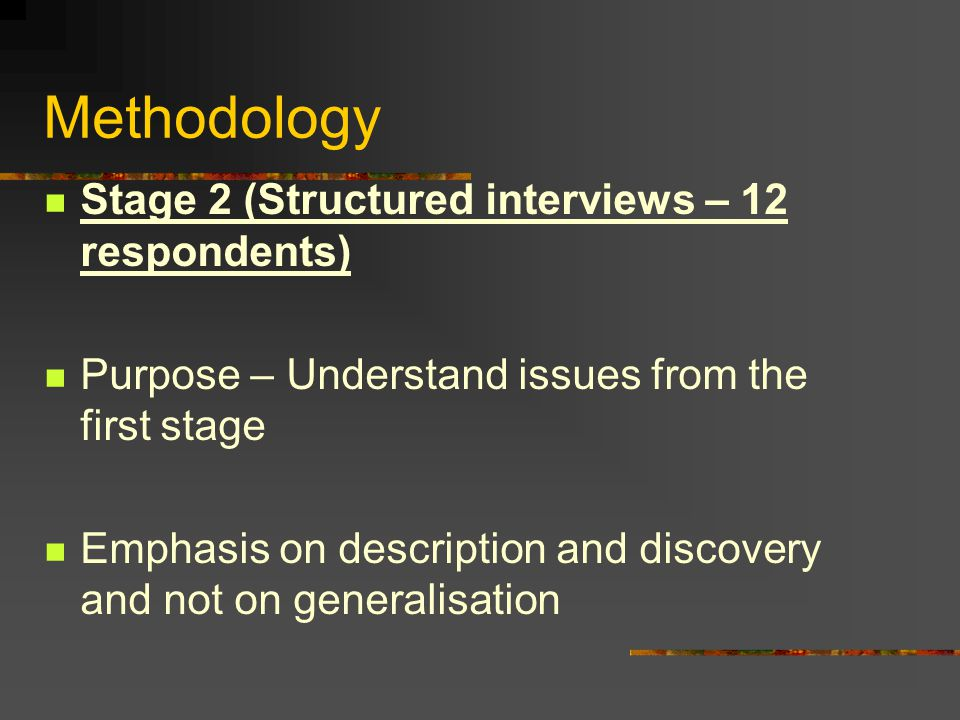 Methodology Stage 2 (Structured interviews – 12 respondents) Purpose – Understand issues from the first stage Emphasis on description and discovery an