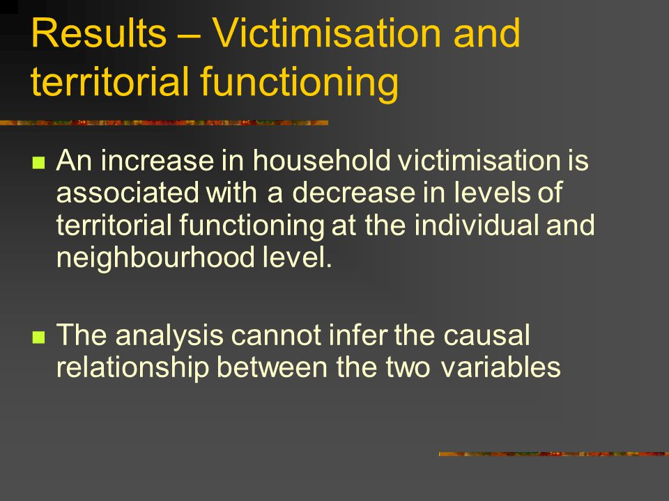 Results – Victimisation and territorial functioning An increase in household victimisation is associated with a decrease in levels of territorial func
