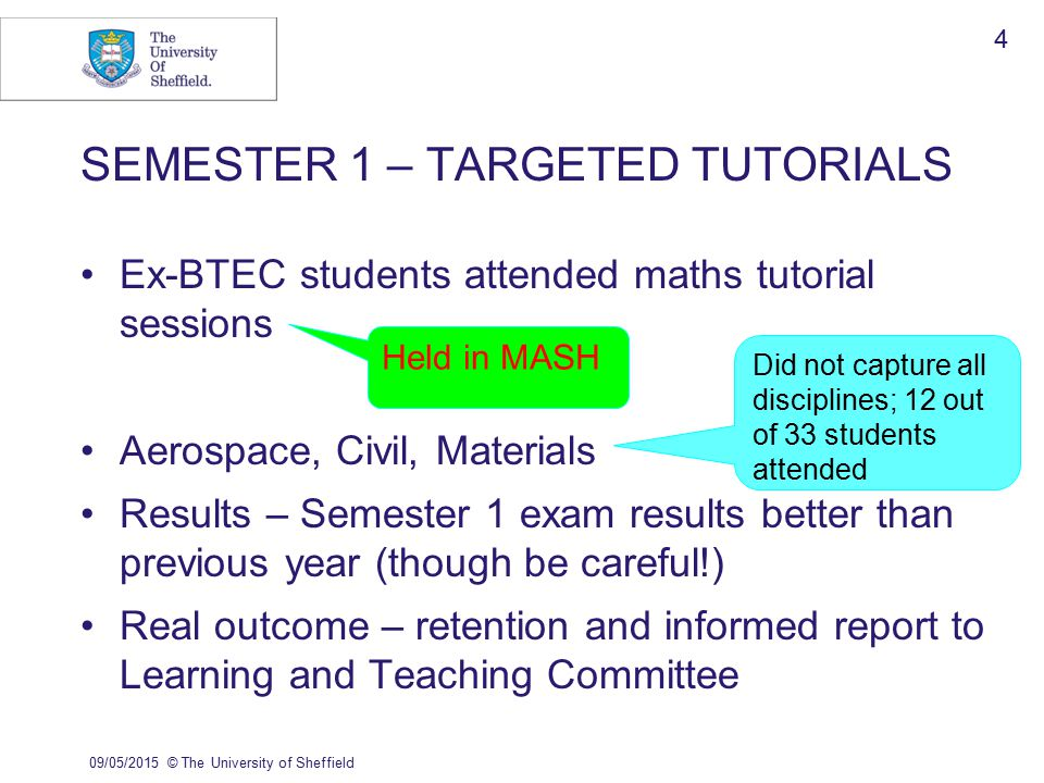 09/05/2015© The University of Sheffield 5 MASH Diagnostics for all engineering students Links to revision materials (mathcentre, HELM etc, MASH itself) Results of diagnostic linked to exam results (inform long-term strategy) Style of questions designed to capture all backgrounds so no disadvantage to vocational students
