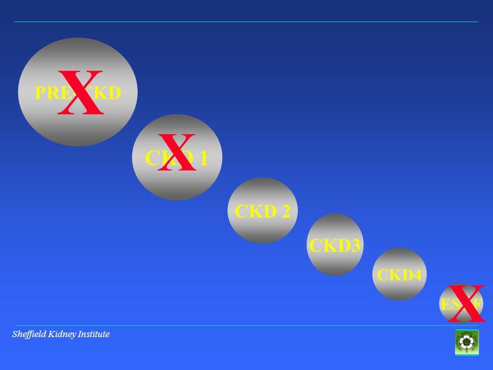 Sheffield Kidney Institute PRE-CKD CKD 1 CKD 2 CKD3 ESRF CKD4 X X X