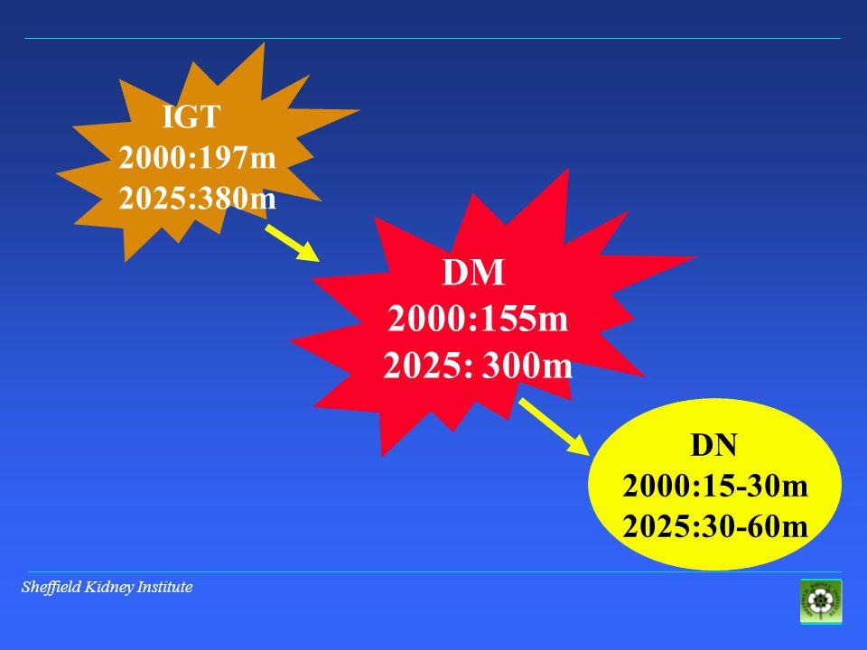 IGT 2000:197m 2025:380m DM 2000:155m 2025: 300m DN 2000:15-30m 2025:30-60m