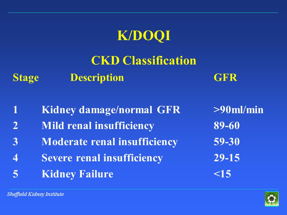 Sheffield Kidney Institute K/DOQI CKD Classification StageDescriptionGFR 1Kidney damage/normal GFR>90ml/min 2Mild renal insufficiency89-60 3Moderate renal insufficiency59-30 4Severe renal insufficiency29-15 5Kidney Failure<15
