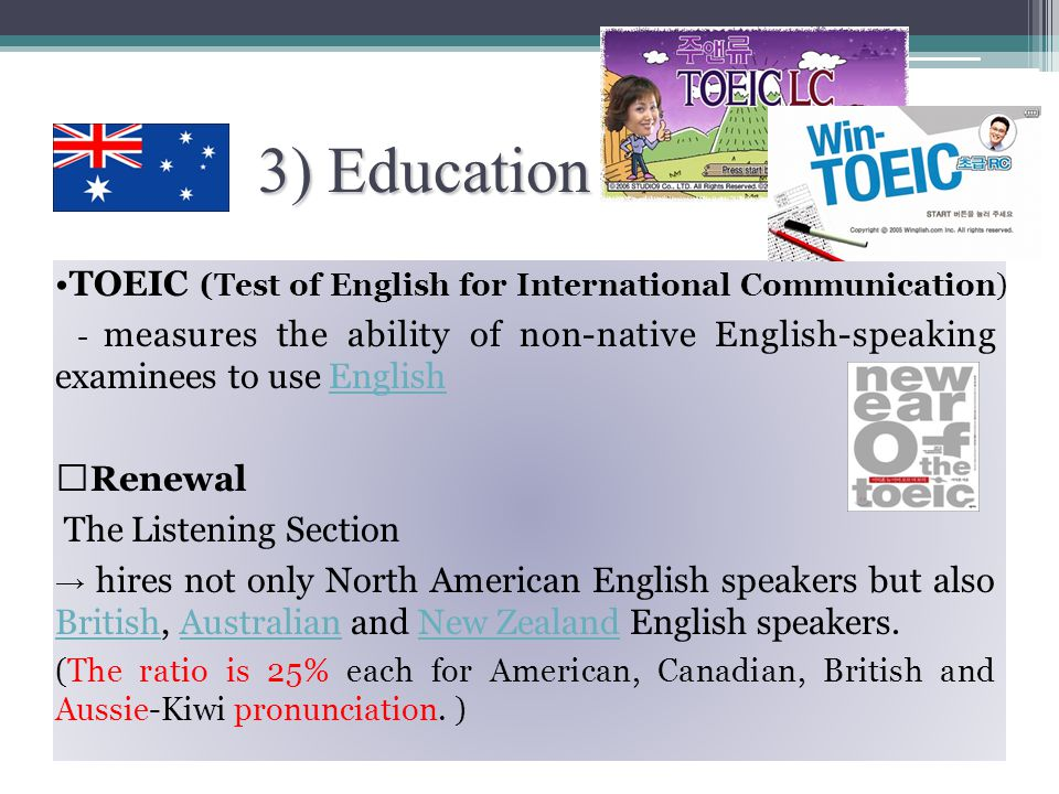 IELTS characteristics A variety of accents and writing styles - in order to minimise linguistic bias IELTS : more authoritative than TOEFL by some people and organizations (especially the ones outside the United States) Although the TOEFL incorporates British and Australian listening exercisesUnited States IELTS tests the ability to speak, read, listen and write in English Two test formats can be chosen from - Academic and General Training Band scores are used for each language sub-skill (Speaking, Listening, Reading and Writing) The Band Scale ranges from 1 ( Non User ) to 9 ( Expert User )