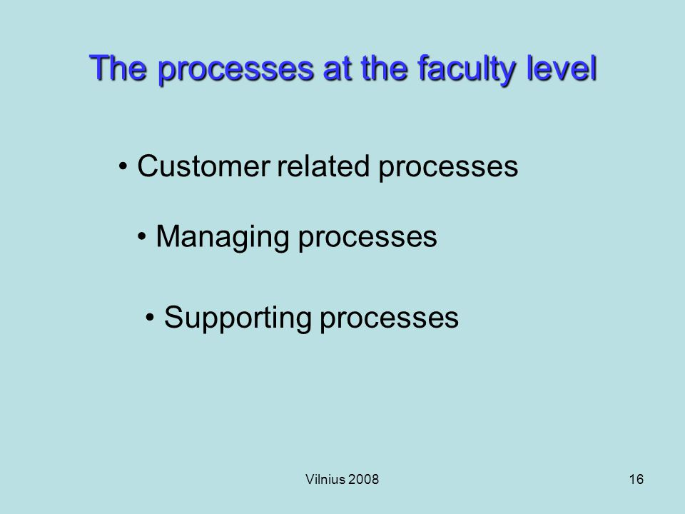 Vilnius 200816 The processes at the faculty level Customer related processes Managing processes Supporting processes