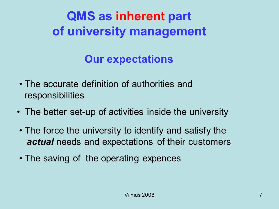Vilnius 200828 Management responsibility Measurement, analysis and improvement Product realization Resource management Customers and other interested parties Requirements Customers and other interested parties Satisfaction IntupOutput Continual improvement of the QM system