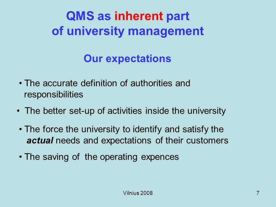 Vilnius 20088 Concepts of QMS.