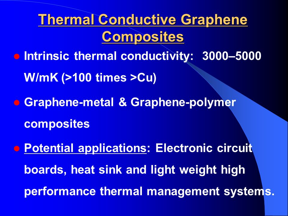 Thermal Conductive Graphene Composites Intrinsic thermal conductivity: 3000–5000 W/mK (>100 times >Cu) Graphene-metal & Graphene-polymer composites Potential applications: Electronic circuit boards, heat sink and light weight high performance thermal management systems.