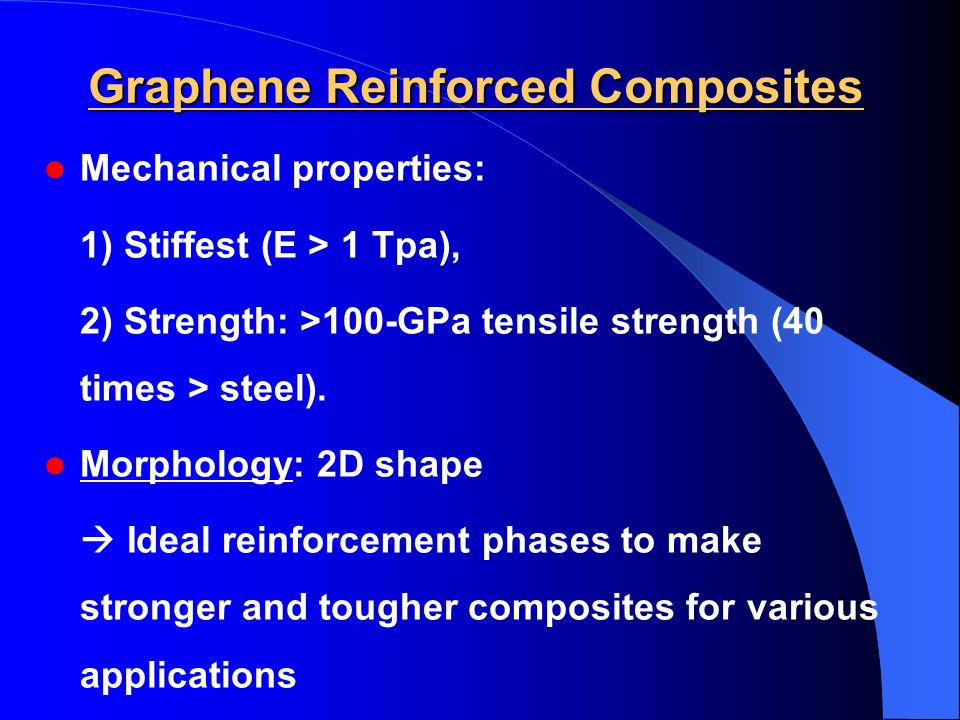 Graphene Reinforced Composites Mechanical properties: 1) Stiffest (E > 1 Tpa), 2) Strength: >100-GPa tensile strength (40 times > steel).
