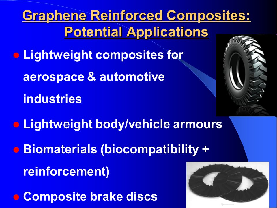 Graphene Reinforced Composites: Potential Applications Lightweight composites for aerospace & automotive industries Lightweight body/vehicle armours Biomaterials (biocompatibility + reinforcement) Composite brake discs