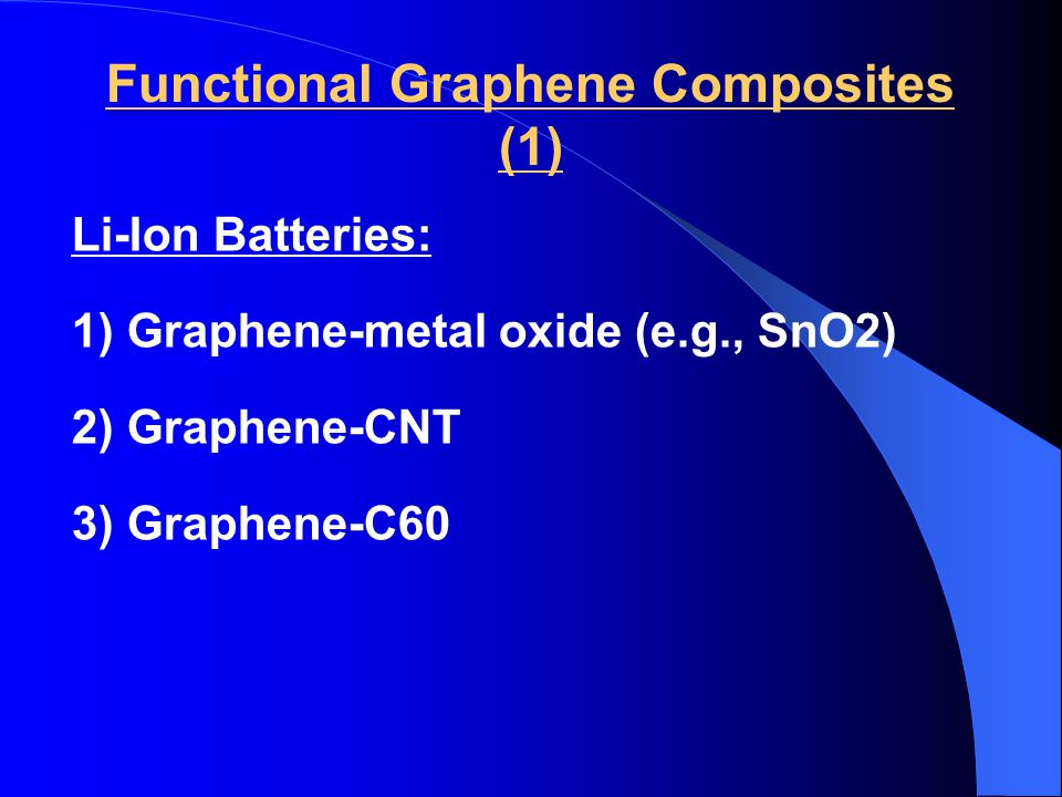 Functional Graphene Composites (1) Li-Ion Batteries: 1) Graphene-metal oxide (e.g., SnO2) 2) Graphene-CNT 3) Graphene-C60