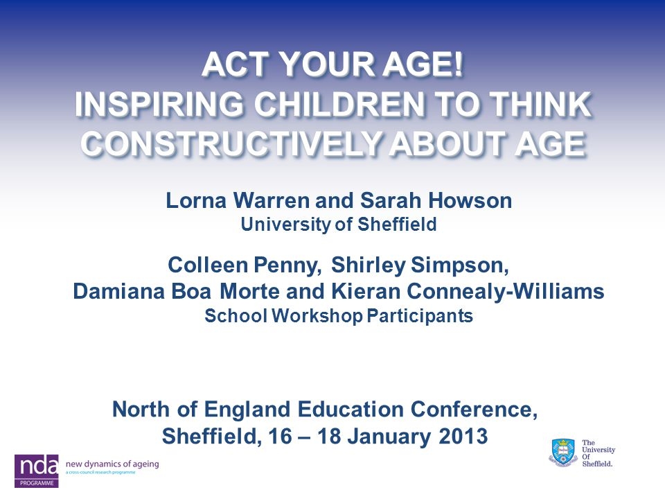 ACT YOUR AGE. INSPIRING CHILDREN TO THINK CONSTRUCTIVELY ABOUT AGE ACT YOUR AGE.