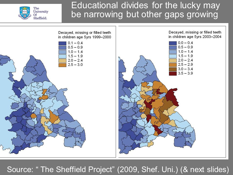 Educational divides for the lucky may be narrowing but other gaps growing Source: The Sheffield Project (2009, Shef.