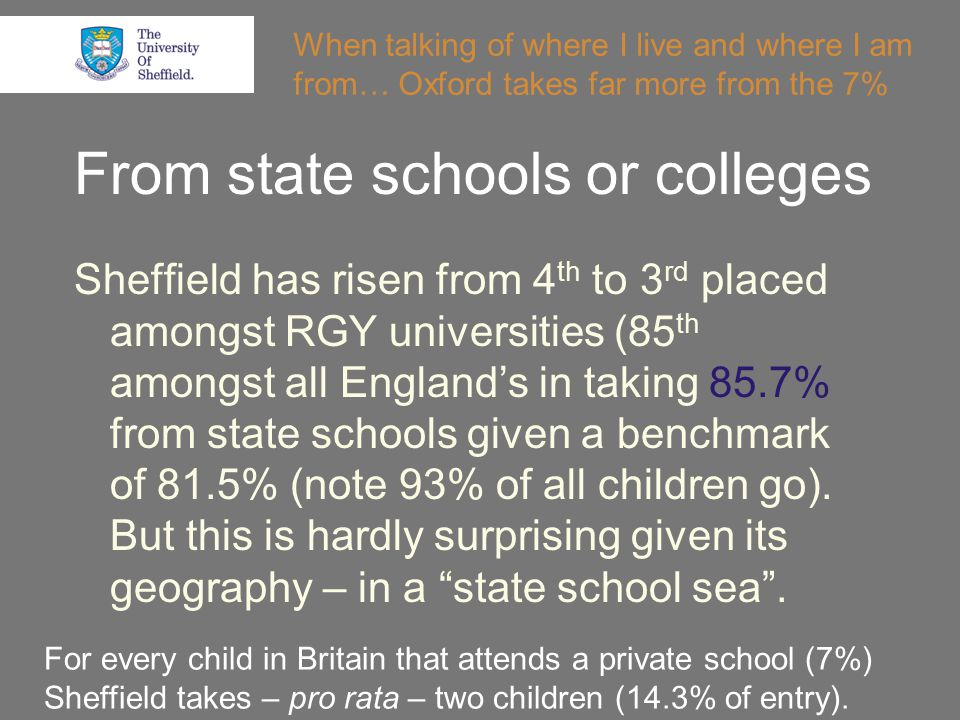 From state schools or colleges Sheffield has risen from 4 th to 3 rd placed amongst RGY universities (85 th amongst all England's in taking 85.7% from state schools given a benchmark of 81.5% (note 93% of all children go).