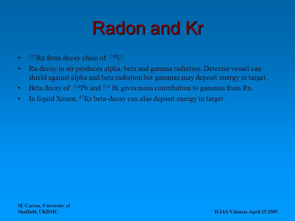 M. Carson, University of Sheffield, UKDMC ILIAS-Valencia-April 15 2005 Radon and Kr 222 Rn from decay chain of 238 U. Rn decay in air produces alpha,