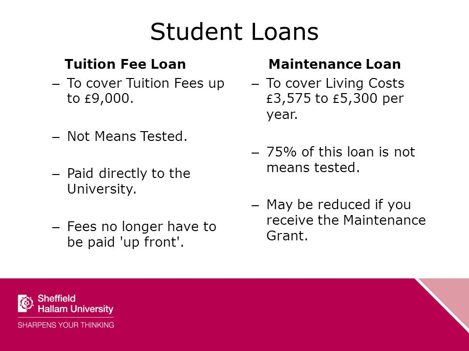 Student Loans Tuition Fee Loan – To cover Tuition Fees up to £ 9,000.