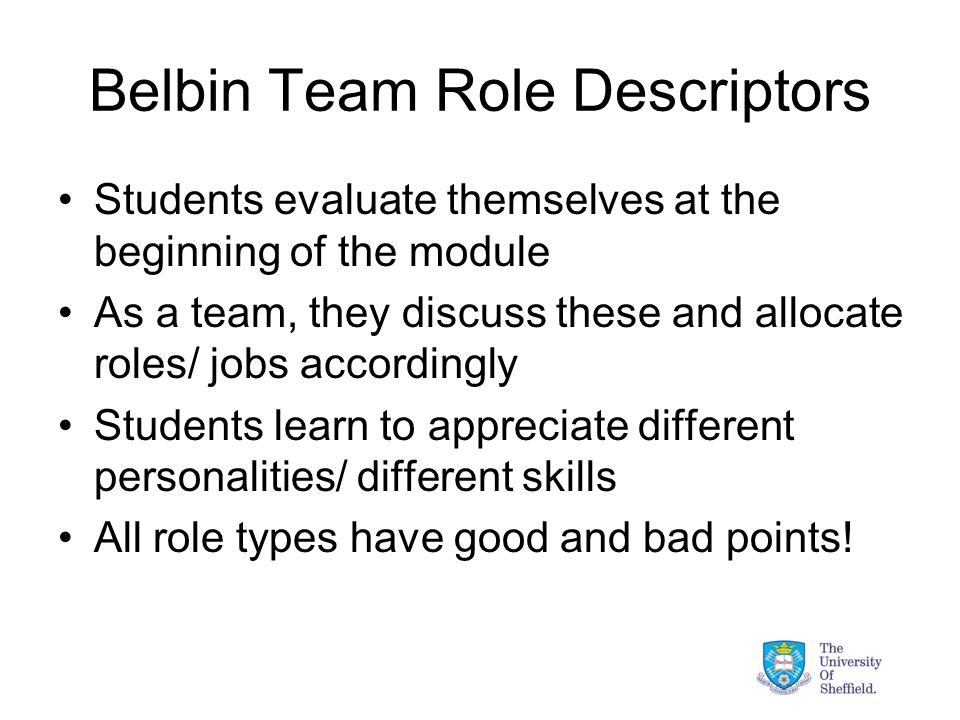 Belbin Team Role Descriptors Students evaluate themselves at the beginning of the module As a team, they discuss these and allocate roles/ jobs accordingly Students learn to appreciate different personalities/ different skills All role types have good and bad points!