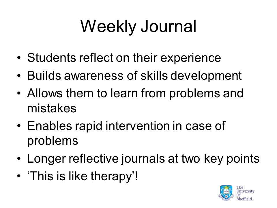 Weekly Journal Students reflect on their experience Builds awareness of skills development Allows them to learn from problems and mistakes Enables rapid intervention in case of problems Longer reflective journals at two key points 'This is like therapy'!