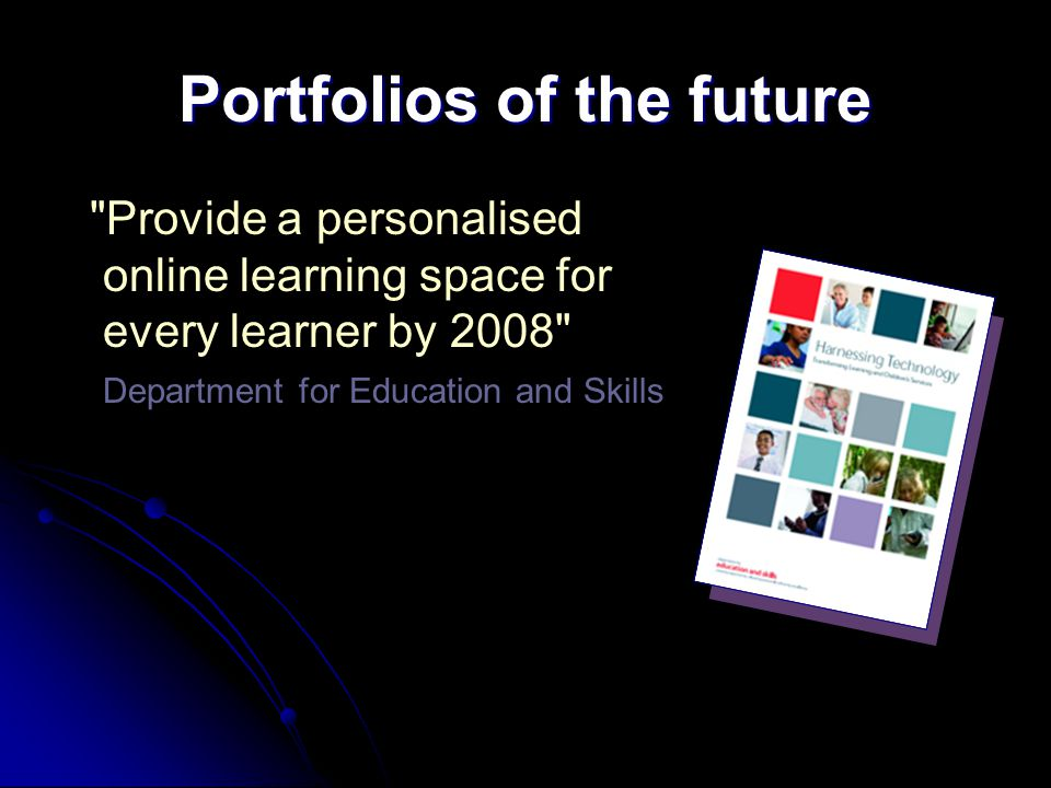 Portfolios of the future Provide a personalised online learning space for every learner by 2008 Department for Education and Skills