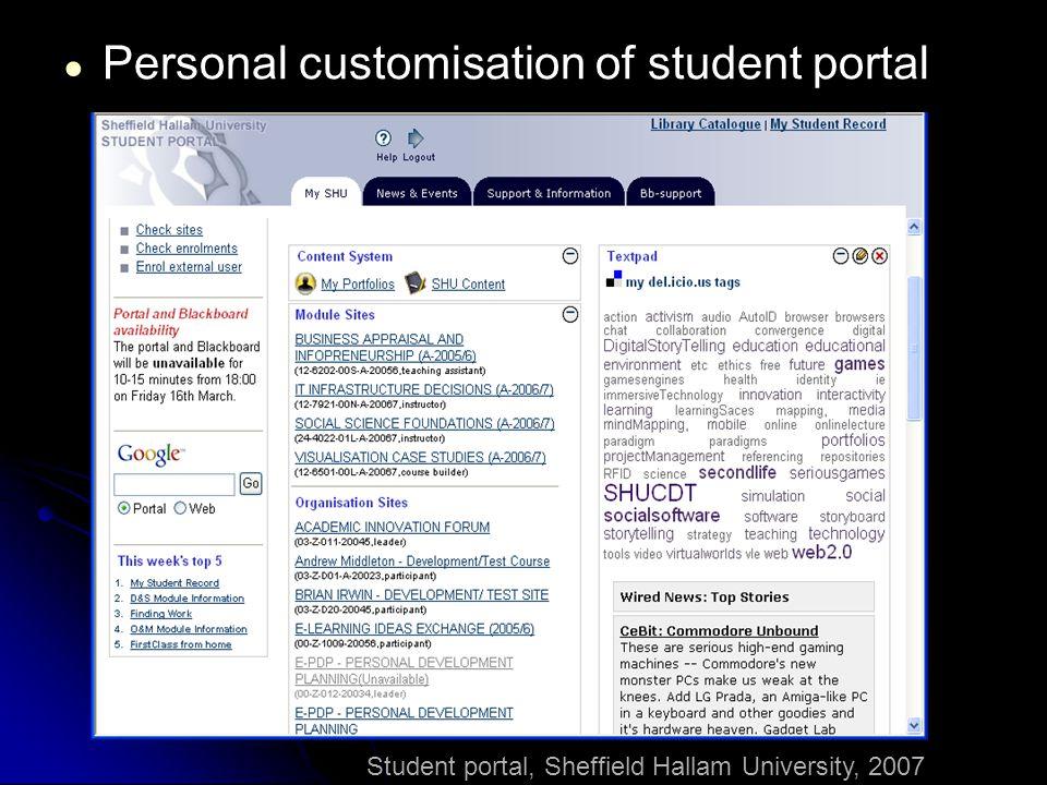 Student portal, Sheffield Hallam University, 2007 ● Personal customisation of student portal