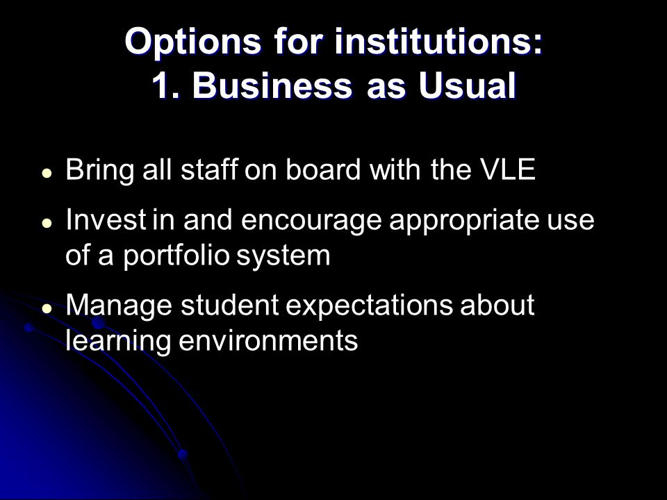 ● Bring all staff on board with the VLE ● Invest in and encourage appropriate use of a portfolio system ● Manage student expectations about learning e