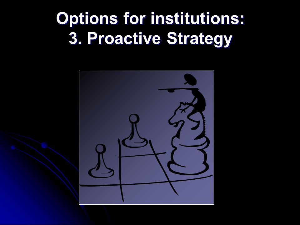 Options for institutions: 3. Proactive Strategy