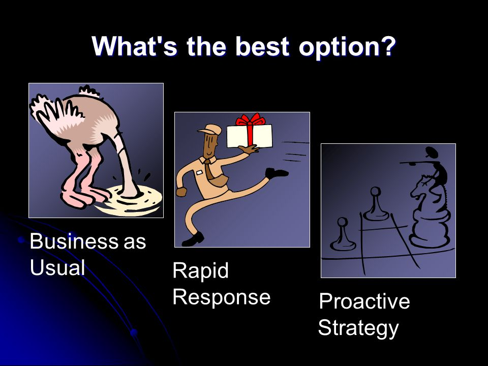 What s the best option? Business as Usual Proactive Strategy Rapid Response