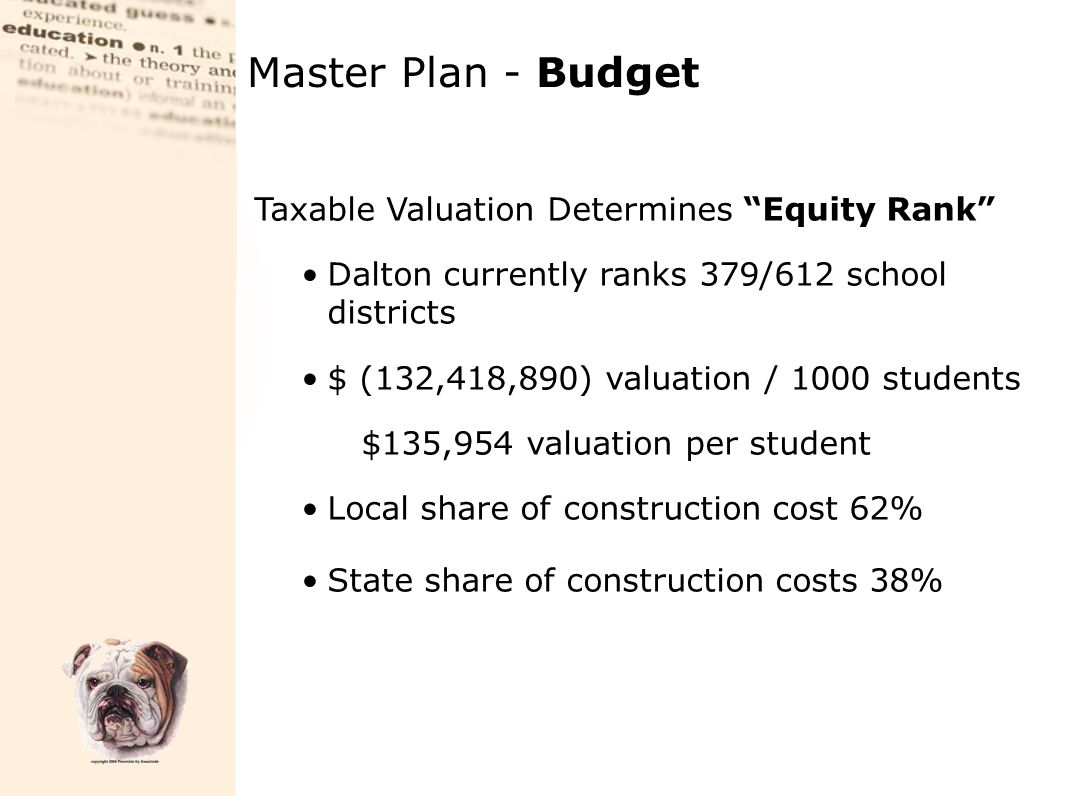 "Taxable Valuation Determines ""Equity Rank"" Dalton currently ranks 379/612 school districts $ (132,418,890) valuation / 1000 students $135,954 valuatio"