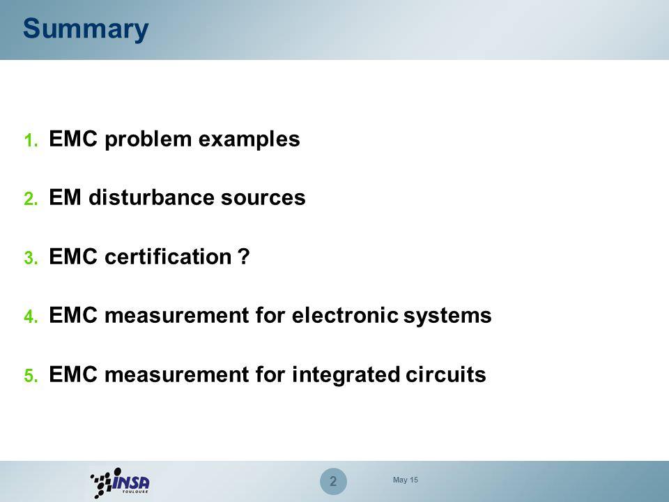2 Summary 1. EMC problem examples 2. EM disturbance sources 3. EMC certification ? 4. EMC measurement for electronic systems 5. EMC measurement for in