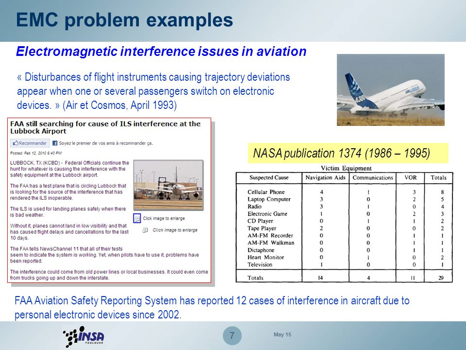 7 Electromagnetic interference issues in aviation « Disturbances of flight instruments causing trajectory deviations appear when one or several passen