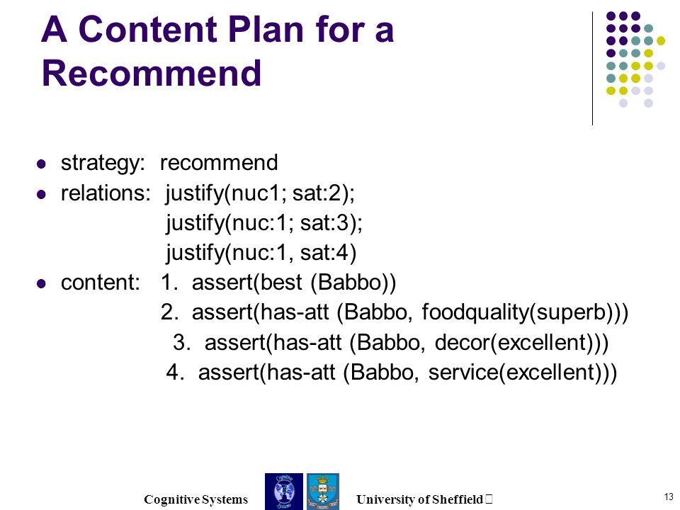 Cognitive Systems University of Sheffield 13 A Content Plan for a Recommend strategy: recommend relations: justify(nuc1; sat:2); justify(nuc:1; sat:3); justify(nuc:1, sat:4) content: 1.