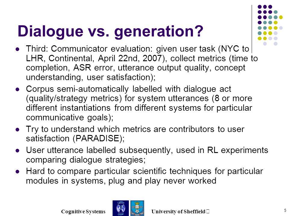 Cognitive Systems University of Sheffield 5 Dialogue vs.