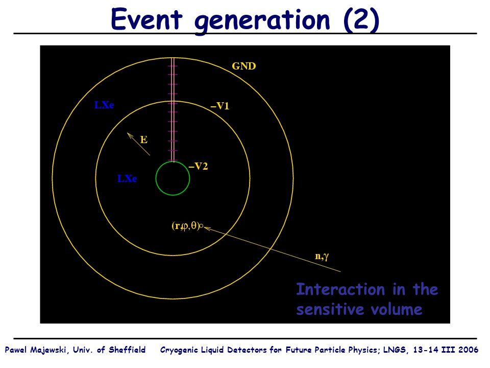 Event generation (2) Interaction in the sensitive volume Pawel Majewski, Univ.